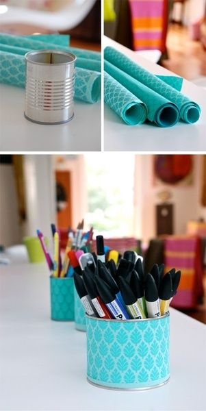 DIY Can Makeup Brush Holder 1