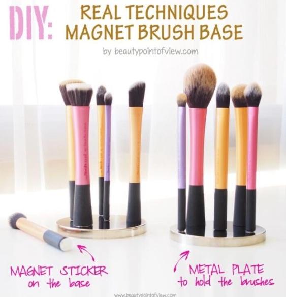 DIY Magnet Makeup Brush Holder