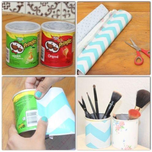 DIY Pringle Can Makeup Brush Holder 2